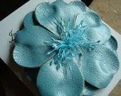 Powder Blue Leather Hair Flower/ Brooch