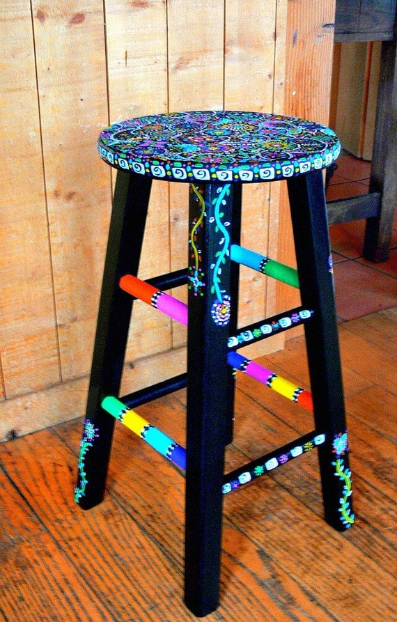 Painted Wooden Stool ~ Items similar to funky hand painted stool on etsy