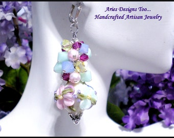 Sweet Love.... Romantic Floral Lampwork Earrings in Pastel Shades