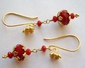 Red Chantilly Crystal and Gold Vermeil Earrings