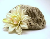 TAN crochet hat with CREAM colored water flower