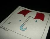 Original Ink Illustration - Red & White Umbrella
