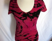 Tie Dye Pink  Orange Black Woman's T shirt Small