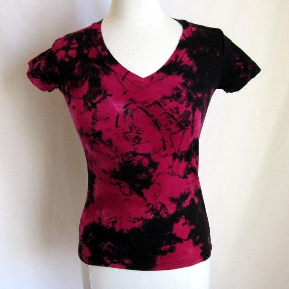 Shibori Tie Dye Rose Pink and Black Womans T shirt Size Small