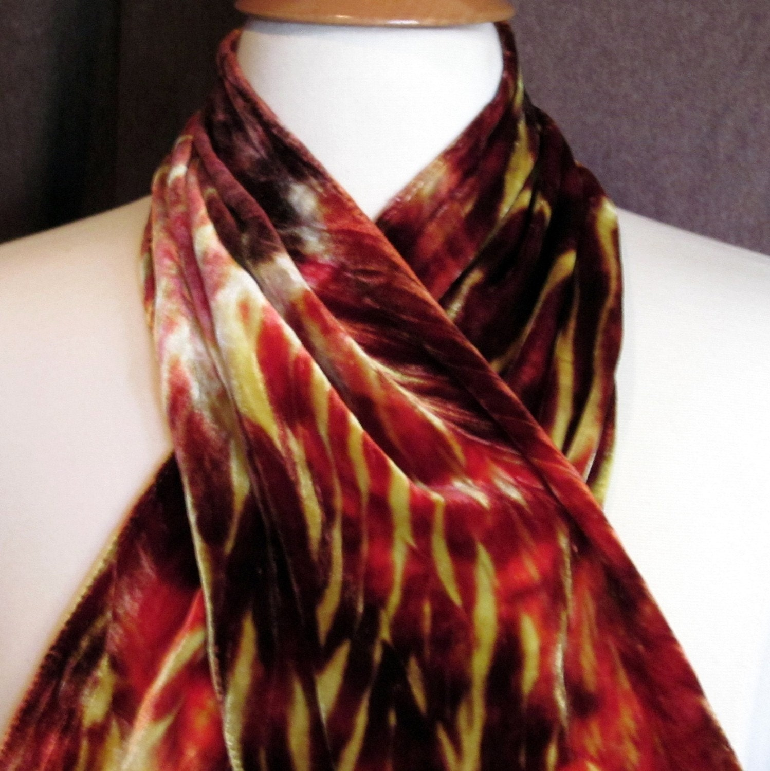 shibori silk velvet scarf tongues of