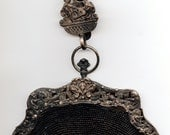 RESERVED AND SOLD/Victorian Sterling silver handled & beaded purse