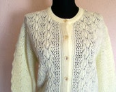 1980s Sunshine Yellow Knit Cardigan. Size Large. Button Down Sweater. Long Sleeves. Scallop Detailing.
