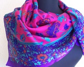 1970s Purple and Magenta Floral Scarf by Berkshire