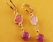 Pink Sapphire 24kt Gold Vermeil Earrings