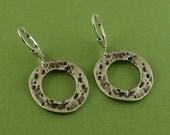 Rustic Silver Circle Earrings