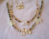 Lovely Double Strand Gold and Multi Gem Necklace and Earrings
