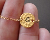 Hammered Pendant, Initial of your Choice - Gold Filled
