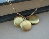 Tiny Lockets Necklace - Handmade - Vintage Lockets- Gold Filled Chain