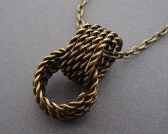 Double Pendant Necklace - Antique Brass Necklace