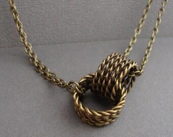 Double Pendant Necklace - Antique Brass Necklace - Version 2