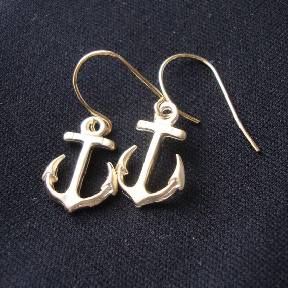 Tiny Anchors earrings, dainty, everyday jewelry, nautical theme, bridal, bridesmaids gift, beach wedding, friend, travel