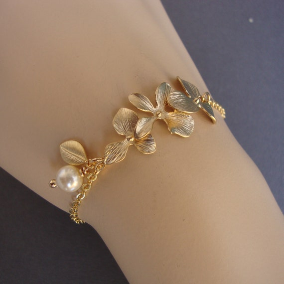 Gold Orchids Bracelet - Blooming- Bridal, Bridesmaids Gifts, Wedding, Anniversary, Feminine, Lovely Gift