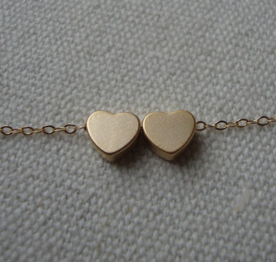 Two Hearts Necklace- gold filled chain, simple and sweet everyday jewelry, Mother and Child necklace, family, friendship