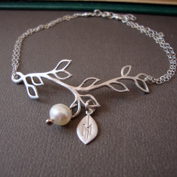 Branch Personalized Bracelet, STERLING SILVER delicate feminine bridal, bridesmaids, simple and dainty jewelry, wedding pearl bracelet
