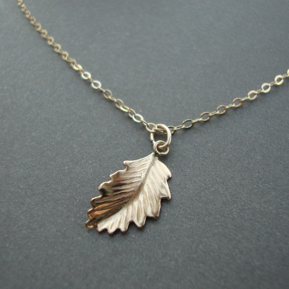 Small Gold Leaf Necklace - gold filled