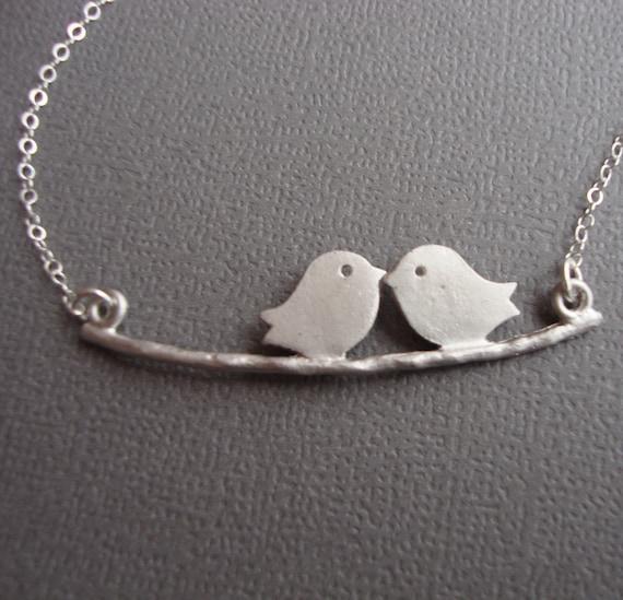 Lovebirds on  a Branch Necklace