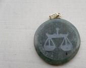 Lovely Libra Vintage Serpentine Stone Pendant