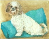 Shih Tzu Dog Art Mini Print by Jude Delaney