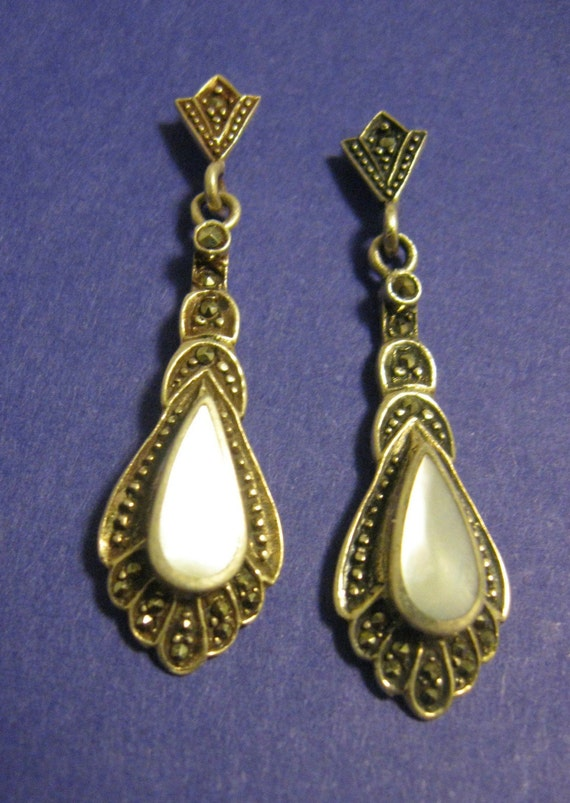 Fancy Sterling Silver Mother of Pearl and Marcasite Earrings