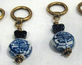 Set of 4 Chinese Porcelain and Blue Goldstone Stitch Markers