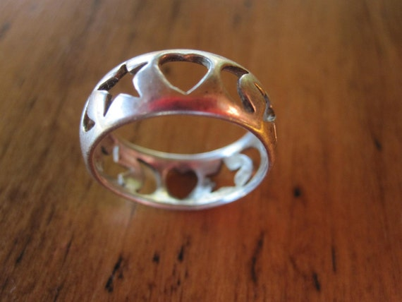 Vintage Star Moon and Heart Sterling Silver Ring - signed - size 6 1/2