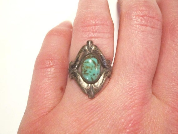 Vintage Sterling and Turquoise Ring - Size 6.5