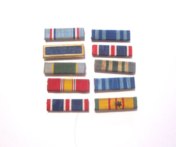 Pile of 10 Old Military Service Ribbon Bars