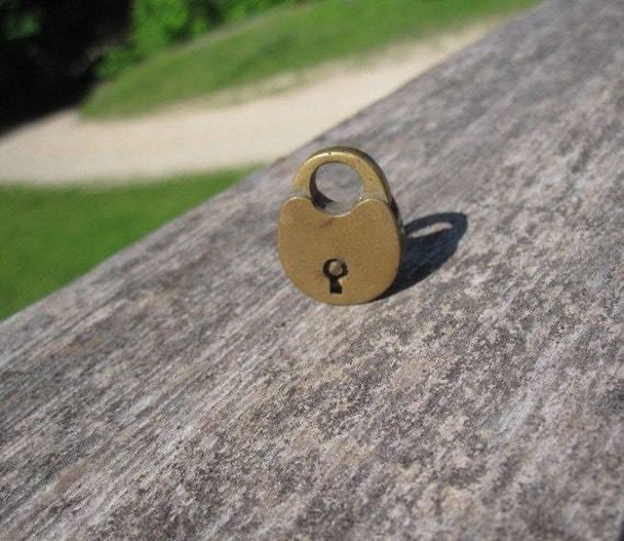 Antique Tiny Brass Lock for Repair - Repurpose or Jewelry Assemblage
