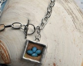 The Nest - silver photo pendant with toggle clasp - sweet nature inspired for Spring -great gift for mothers