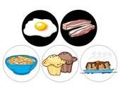 Breakfast Foods pinback buttons set