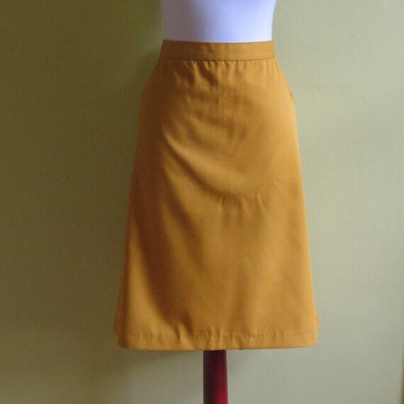 vintage mustard yellow pencil skirt plus size xl