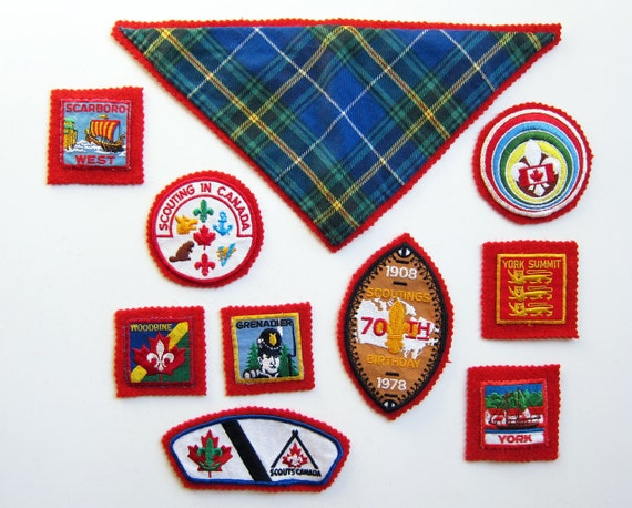 Vintage 1970s & 1980s BOY SCOUT Badges / Canadiana Ontario Canada Camping 10 Piece Lot