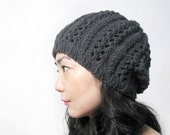 Lacy Cable Hat in Gray - Ready to Ship