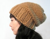 Chunky Slouch Hat in Camel - Wool 100 Percent