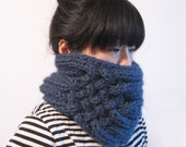Double Rib Cable Neck Tube in Denim