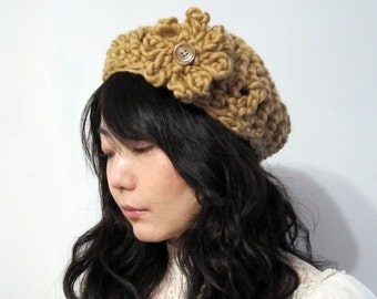 Camel Chunky Beret - Wool 100 percent - Ready to ship : ***SAMPLE SALE***