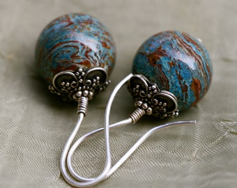 Planet Earth in Blossoming II earrings-boho,colorful,blue stone,Earth,Earthy,Rustic,Floral Bead Cap