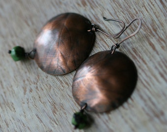 Sale-USE COUPON- Leaf on Copper earrings-Rustic,Tribal,Copper, Leaf Stamped,Turquoise, Gipsy