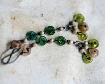 CLEARANCE-Confetti earrings-rustic, vintage glass, colorful,pendulum, dangle,glass,clearance sale