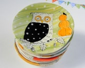 Miniature Owl Plate - Fall Pumpkin