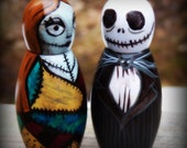 Jack and Sally Peg Dolls with Hidden Stash Compartment