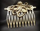 SALE Bronze Octopus Hair Comb from the Steampunk Cthulhu Collection - Tentacle Hair Clip