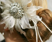 Bridal Feather Flower Vintage Rhinestone Hair Clip MADE TO ORDER.