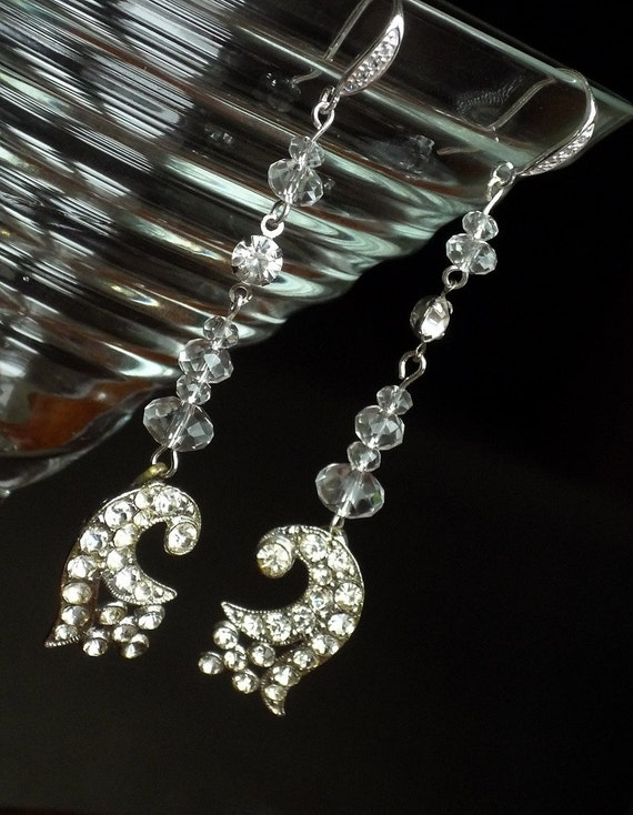 Vintage Art Deco Rhinestone Earrings. Floral Crystal Gorgeousness.