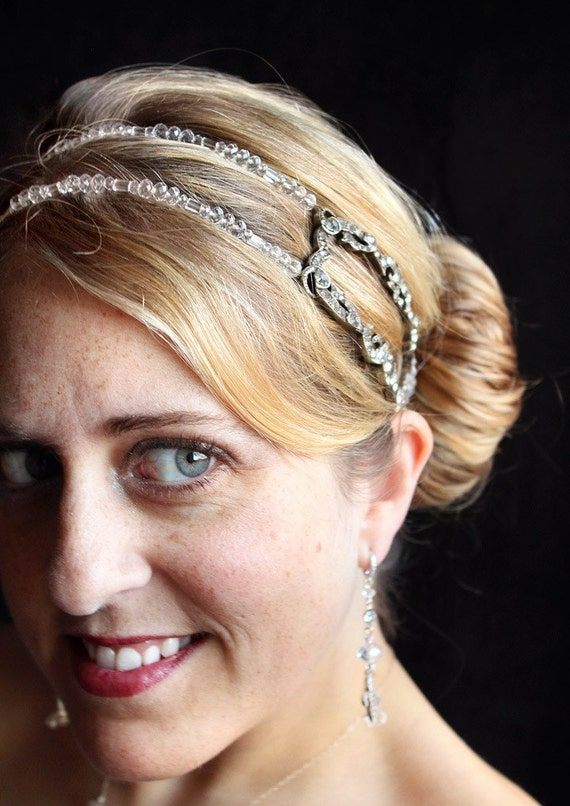 Framed in Sparkles. Art Deco Rhinestone Hair Piece, Headband Fascinator.